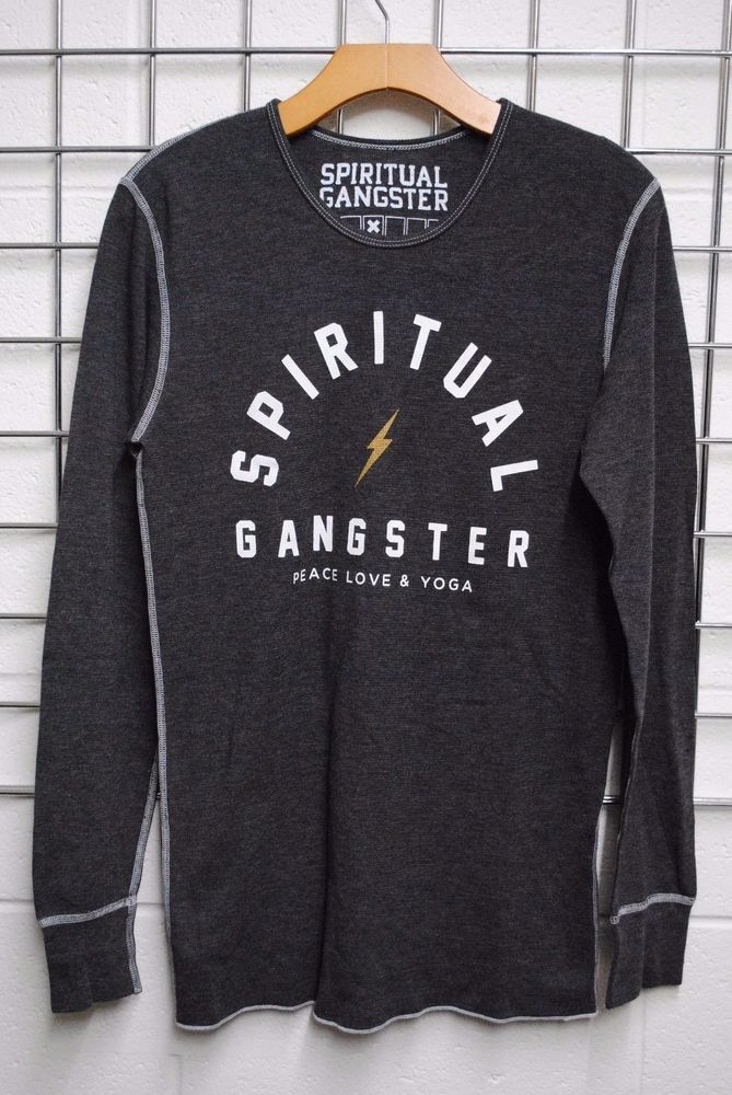 NWOT Men's Spiritual Gangster Thermal Gray Shirt Long Sleeves Peace Love Yoga *M #SpiritualGangster #GraphicTee