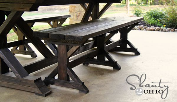 picnic table and benches DIY | home | Pinterest