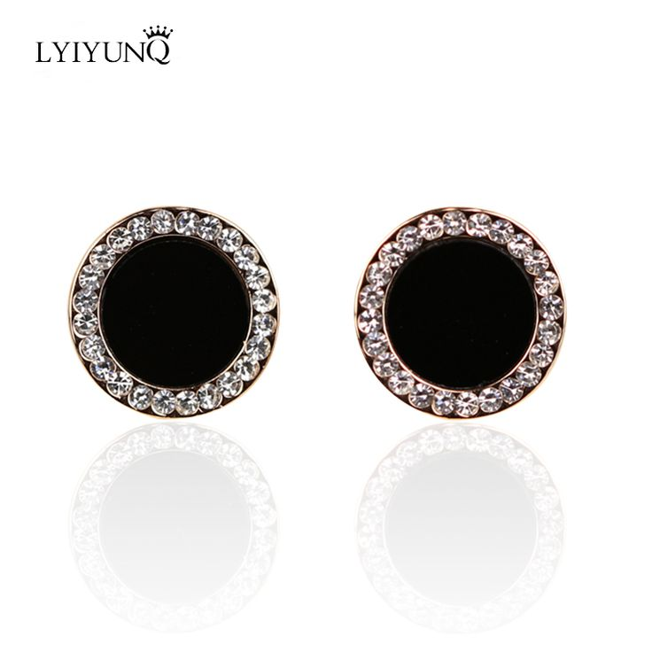 2016 Hot Black Party Crystal vingtage stud Round earrings for girls female fashion classic jewelry brincos