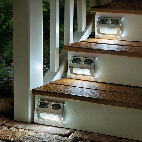 Improvements Solar Powered Metal Deck Lights Set Of 4 (180 ILS) ❤ Liked