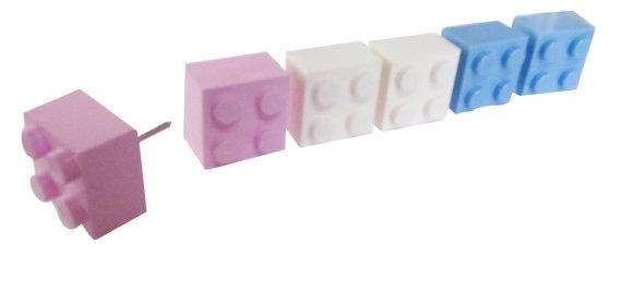 Set of 6 push pin tacks made of Legos Pastel by CaliforniaMommy3, $6 ...