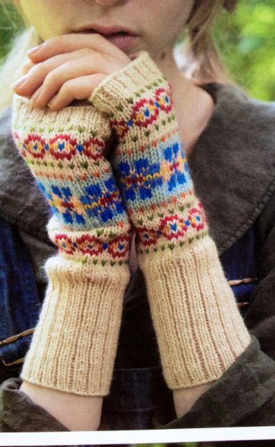 Colorwork fingerless gloves