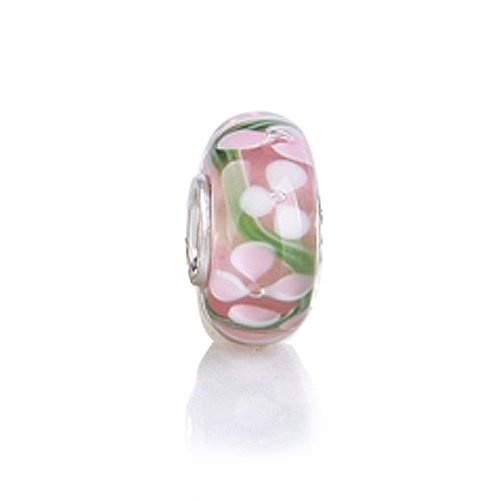 """""""The Clover Murano Pink Glass Bead is one of many that can be the heart and soul of your Pandora bead bracelet. Made with a .925 sterling silver core, this stylish glass bead stands out! Set over a background of light pink, small white clovers appear to the surface to adorn this charm that fits Pandora bracelets. Add this charm that fits Pandora bracelets to your story and or try other themes like Valentines, love, birthday, wedding...: Pandora Beads, Glasses Beads, Silver Clovers, Pandora Compatibility, Clovers Murano, Beads Pandora, Pink Glasses, Murano Pink, Bling Jewelry"""