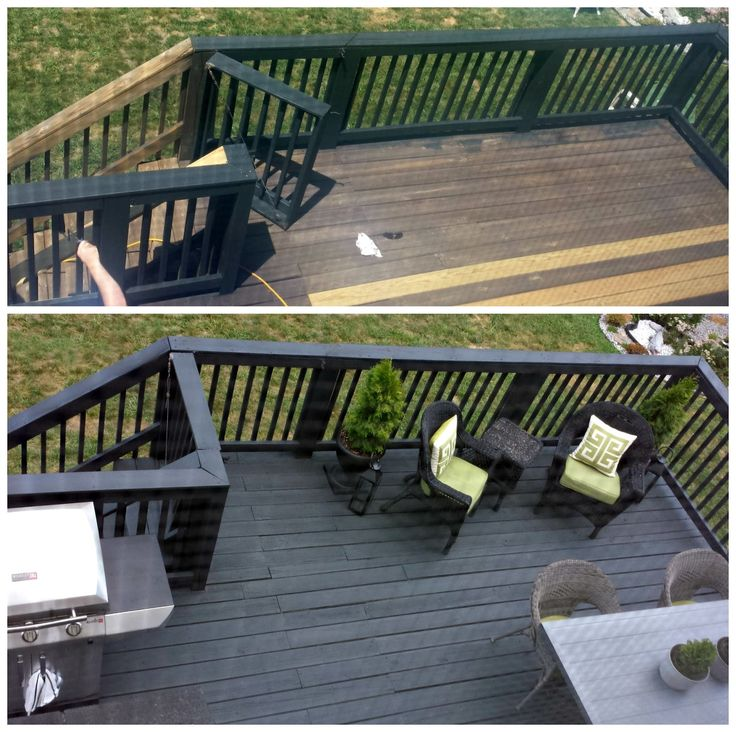 FOCAL POINT STYLING: Before & After: Two-Story Black Slate Stain Deck & Repair