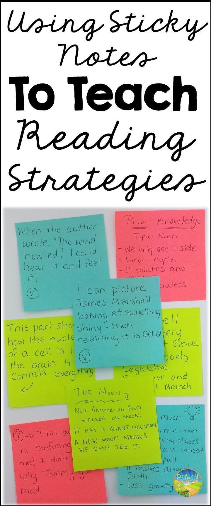 Simple strategy to use sticky notes for teaching and practicing reading strategies