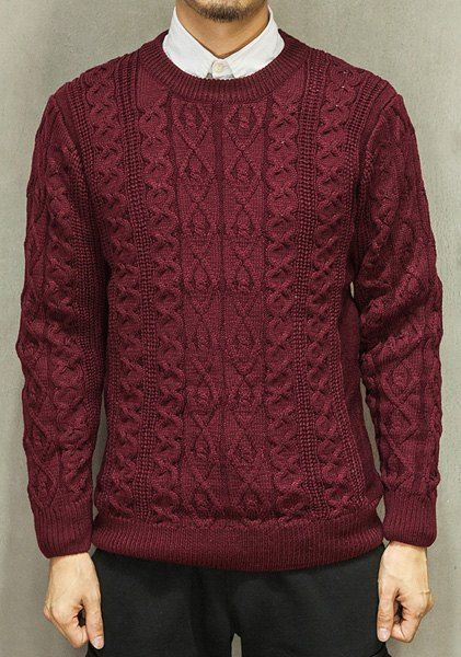 Round Neck Solid Color Hemp Flowers Intarsia Long Sleeve Sweater For Men