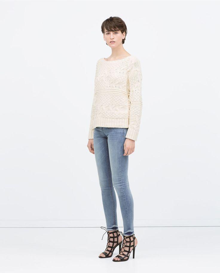 Image 1 de PANTALON DENIM SKINNY TAILLE BASSE de Zara