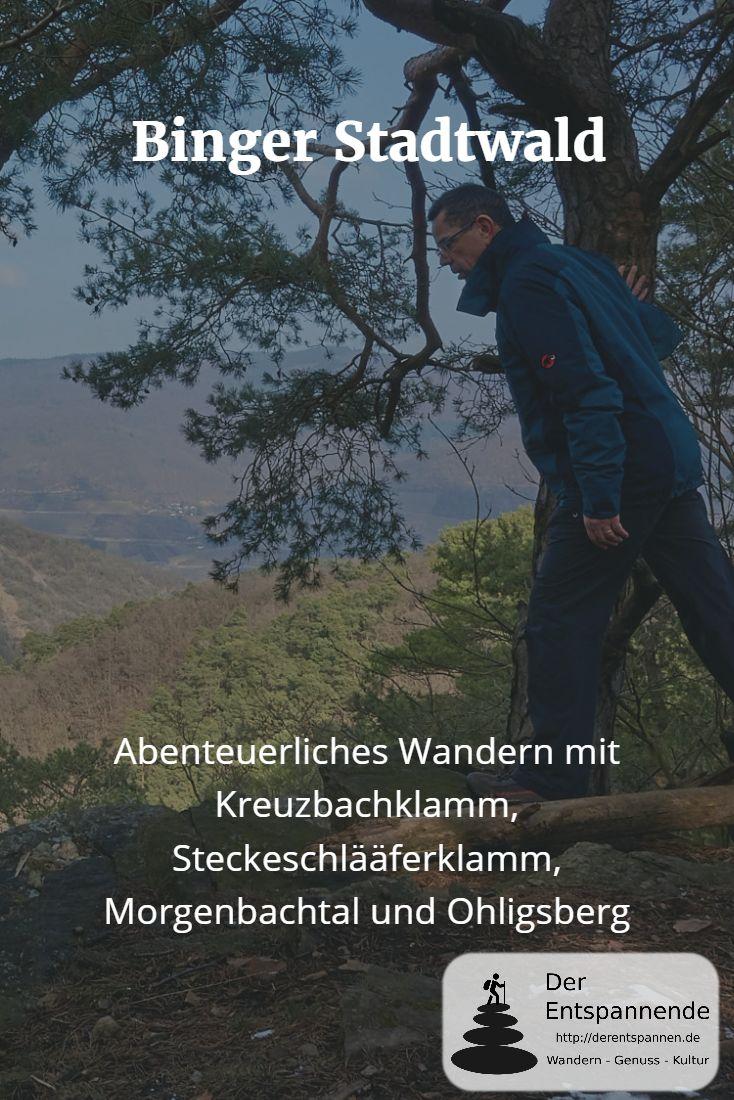 """Wandern im Binger Stadtwald im """"Drei-Berge-Eck"""" Druidenberg, Veitsberg, Ohligsberg durch Kreuzbachklamm, Steckeschlääferklamm und Morgenbachtal sowie auf den Ohligsberg und über das Schweizerhaus zurück zu den Binger Kribben."""