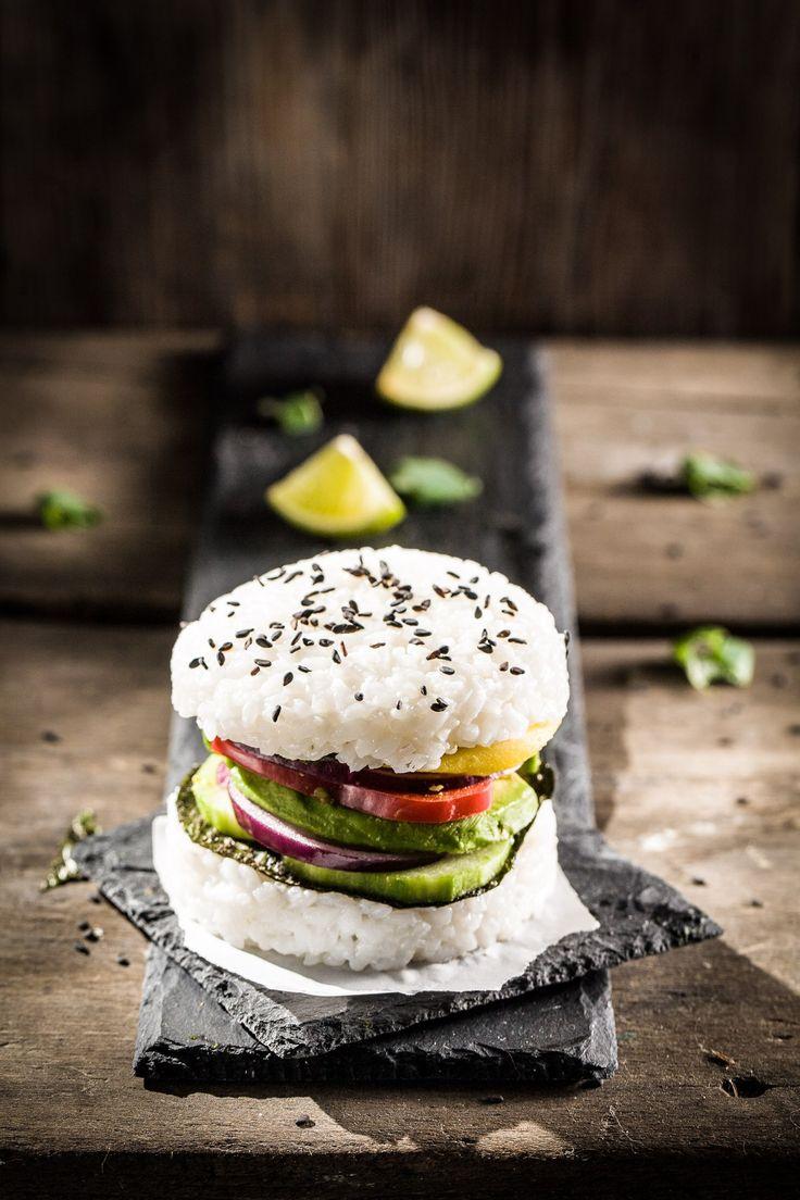 Sushi-Burger, vegan, ihana, Foodstyling, Foodphotography, glutenfree, Burger, Sushi, Foodblog