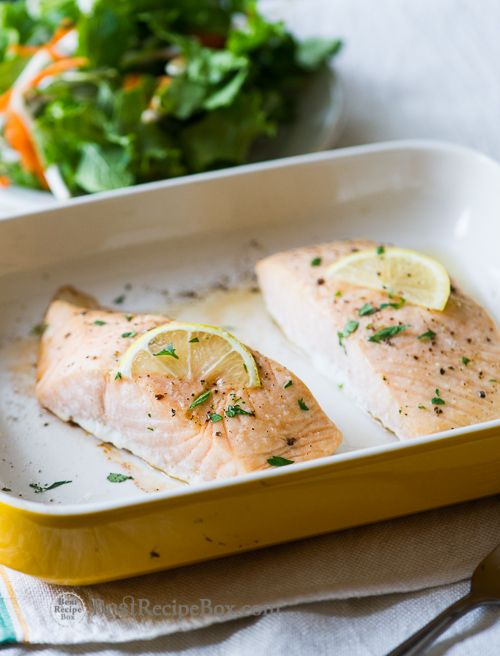 Easy Oven Baked Salmon Recipe - A healthy and easy 30 minute recipe for dinner on BestRecipeBox.com (Oven Baking Salmon)