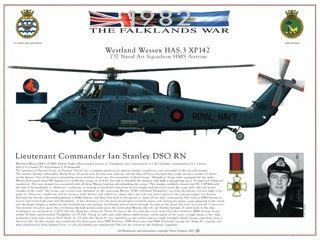 The Falklands War Westland Wessex HAS.3 XP142. 737 Naval Air Squadron HMS Antrim.  Lieutenant Commander Ian Stanley DSO RN. HJ Dempsey A3 print, exclusive to the Fleet Air Arm Museum. £17.95 inc VAT