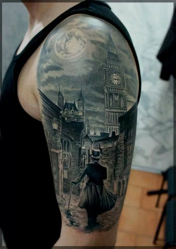 Awesome Jack the Ripper and London light half sleeve by Pavel Roach.