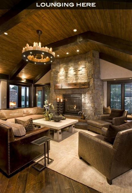 Recessed lighting above with rustic mantle