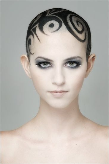 future, futuristic, future girl, futuristic tatto, Tattoo, Model, bald, Romy E, cyberpunk girl, future girl, cyberpunk tattoo, make up by FuturisticNews.com