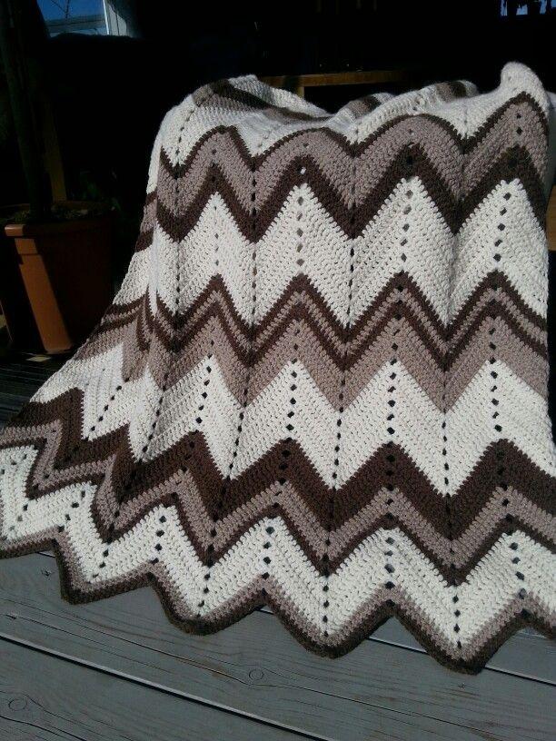 Easy chevron crochet blanket.