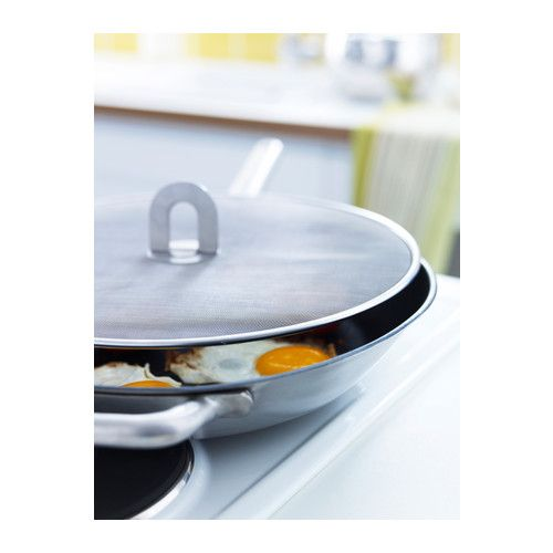 "$5.99 STABIL Splatter screen IKEA Holds most frying pans up to 13"" in diameter. Folding handle; saves space when stored."