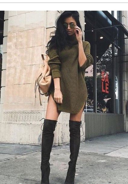 dress olive green green sweater dress sweater fall outfits thigh high boots