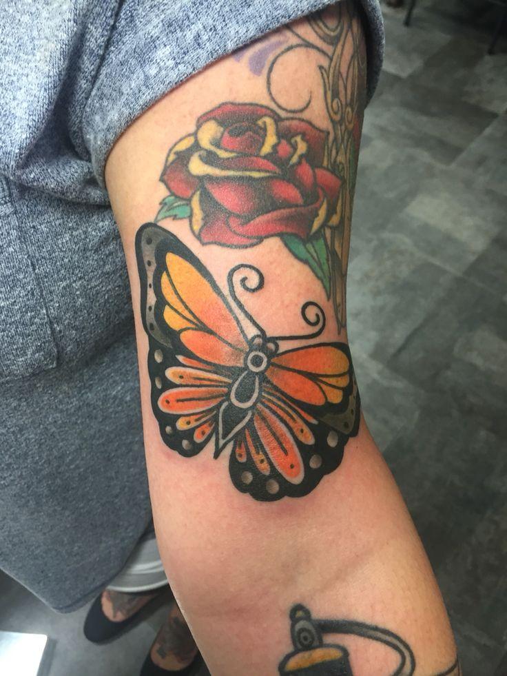 Monarch butterfly traditional tattoo Asylum Tattoo kentucky