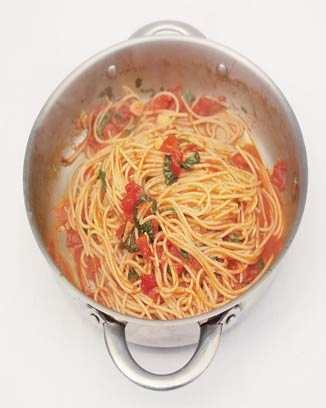 """Jamie Oliver's recipe for """"classic tomato spaghetti"""". Delicious! It reminds me a lot of the Angel Hair with Tomatoes and Basil at the Cheesecake Factory. I think I'll add shrimp next time to make it heartier."""