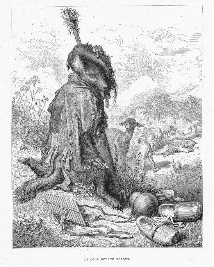 'Le loup devenu berger' by Gustave Doré, from the book 'Les fables de La Fontaine' by Jean de La Fontaine, 1866.