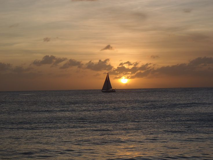 Sunset over the Caribbean.