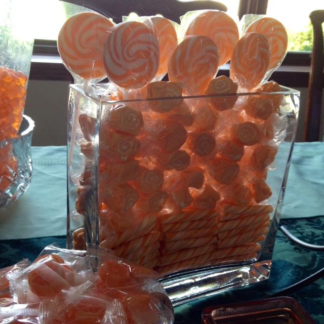 Preview of the orange candy buffet I'm setting up for the upcoming shower...