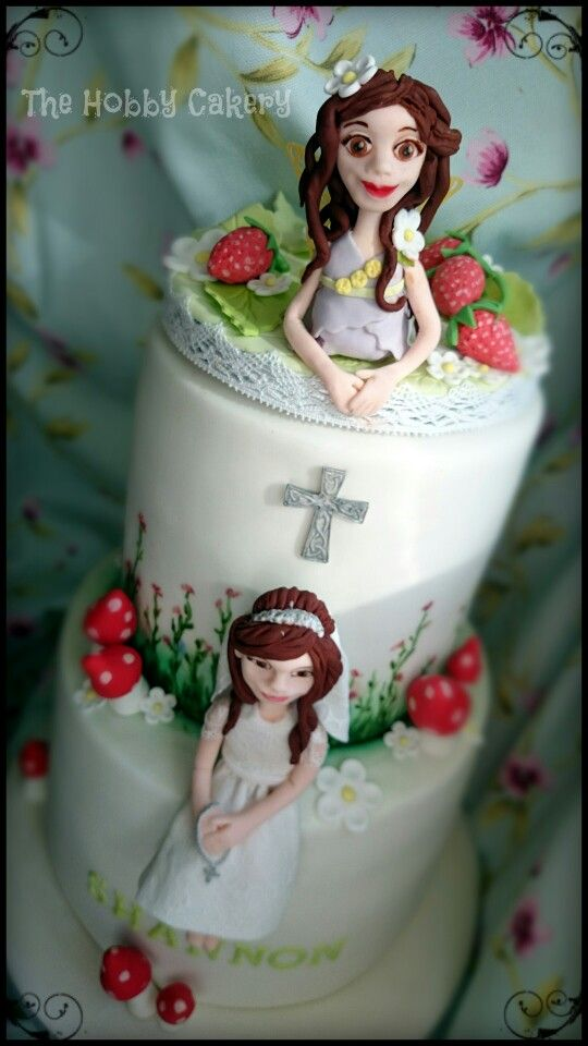 Two tier First Holy Communion cake personalised cake topper girl and fairy The Hobby Cakery
