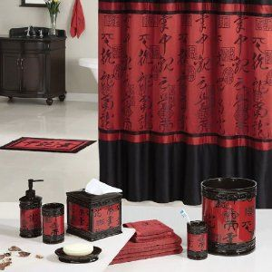 ROYAL RED BATHROOM SHOWER CURTAINS  | .com - Red Black Asian Designed Bathroom Polyester Shower Curtain ...