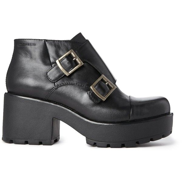 Vagabond Leather Buckle Dioon Ankle Boots (2.920 UYU) ❤ liked on Polyvore featuring shoes, boots, ankle booties, footwear, black, short boots, leather buckle boots, black bootie boots, black ankle boots and black bootie