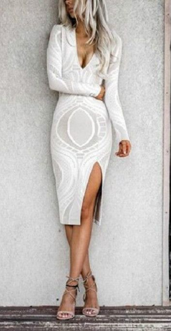 Women's Deep v Neck Long Sleeve front Slit Bodycon Party Dress
