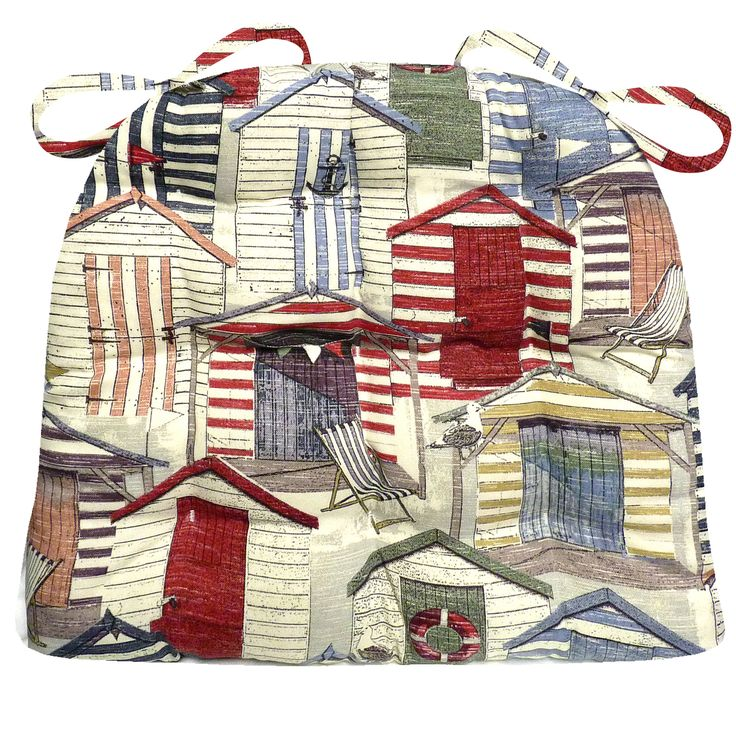 Beach Huts Vintage Indoor/ Outdoor Chair pads by Barnett Home Decor features a fun print of beach crowded with cabanas in vintage Cape Code colors. #beach #house