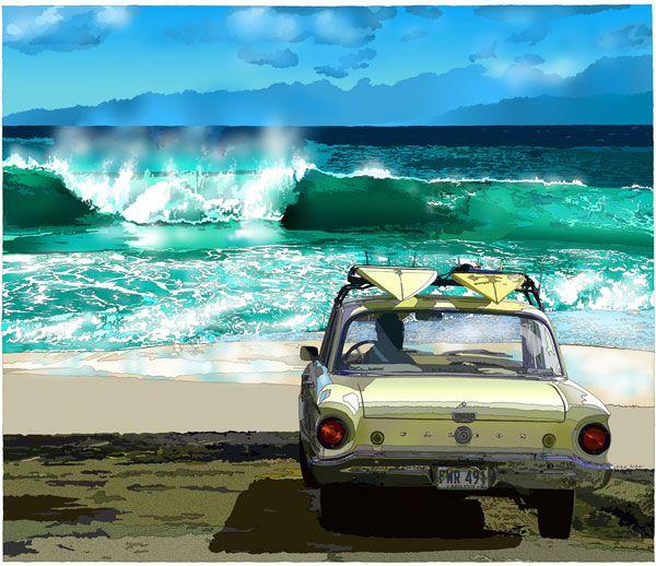Sandy Beach, Oahu ~ by Eizin Suzuki surf art, #surfart surfboards