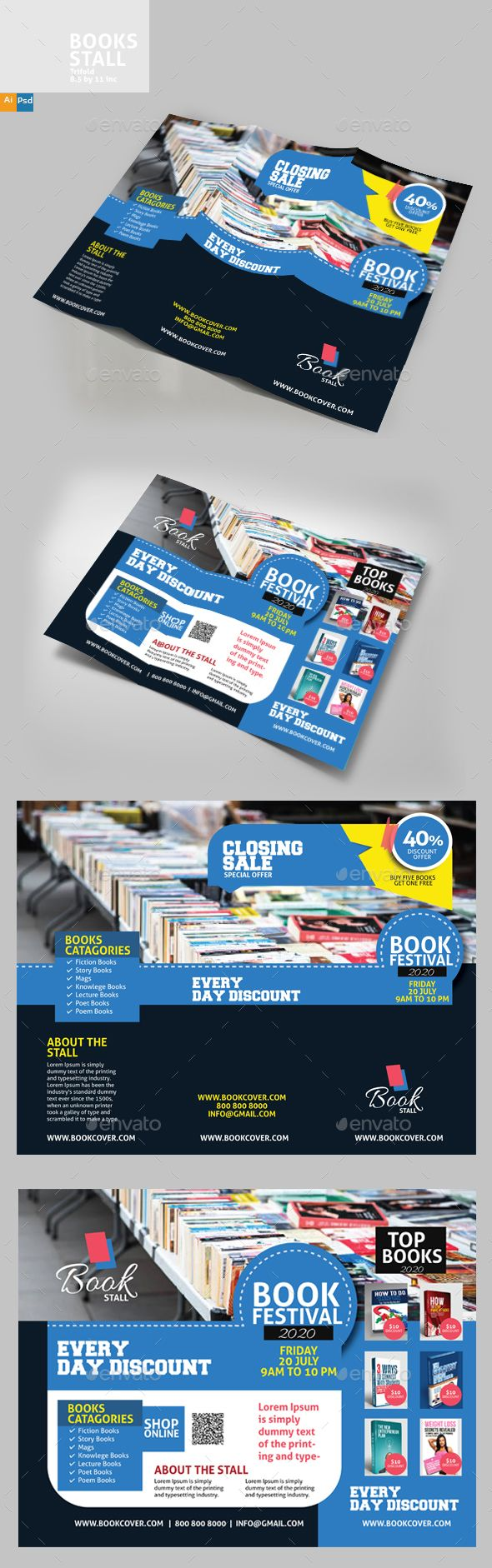 Book Stall #Brochure - #Brochures Print Templates Download here:  https://graphicriver.net/item/book-stall-brochure/20293315?ref=alena994