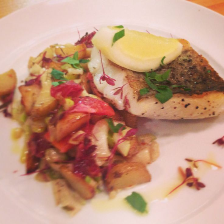 Nasello Pollock fillet served with a warm salad of roasted fennel, blood orange and sautéed potatoes. Perfect for spring!!