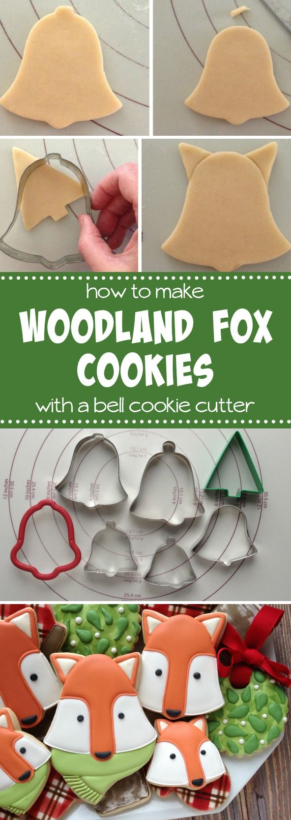 How to make woodland fox cookies with a bell cutter with Clough'D 9 Cookies via Sweetsugarbelle.com