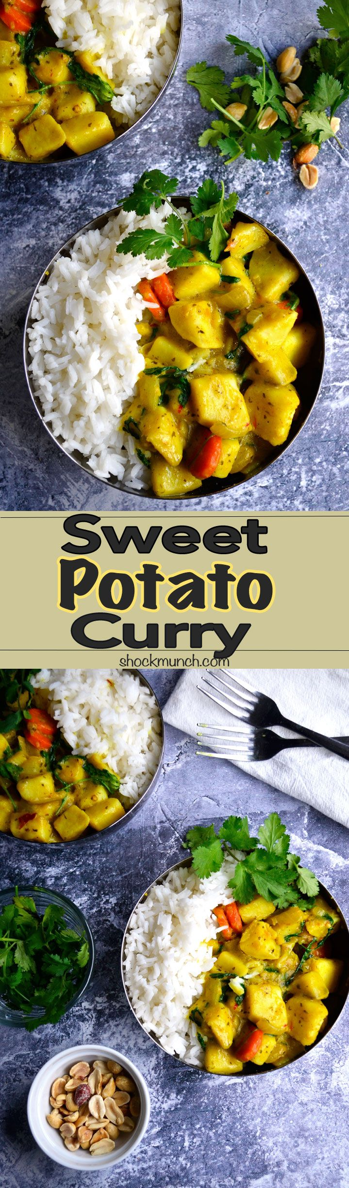 Vegan Sweet Potato Curry!  Comforting, creamy, and immensely satisfying!   #vegan #vegetarian #curry