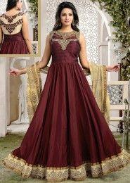Party Wear Art Silk Maroon Kasab Work Anarkali Suit