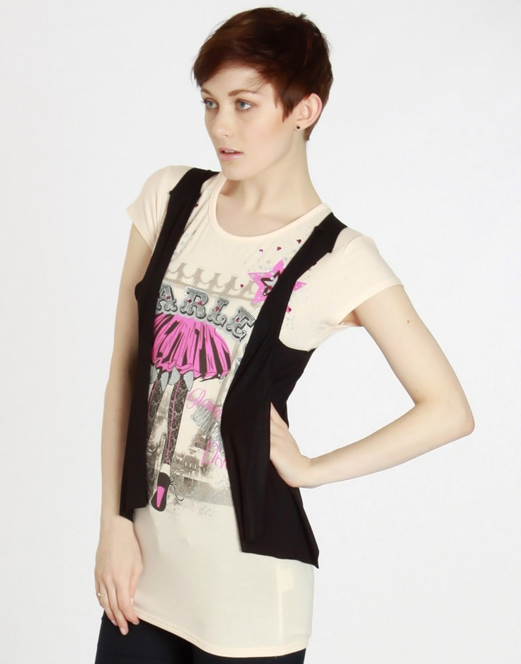 Starlet Print Peach T Shirt w Black Jersey Waistcoat - ChiaraFashion