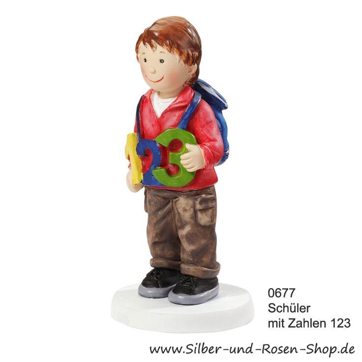 Tortenfigur Schuljunge mit Zahlen 123
