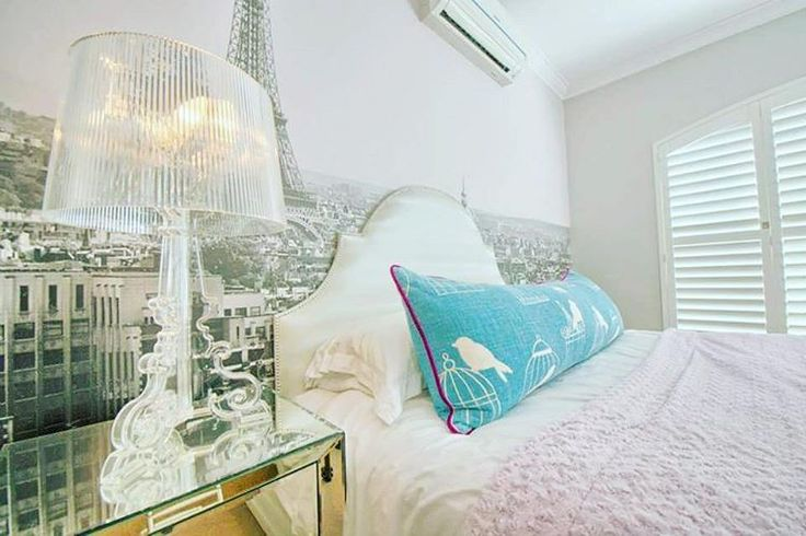 """Project l Azalea Ave l Welgedacht Estate #fabulousteenagebedroom #parisbackdrop #bourgeoislamp #scallopedheadboard #catchmedia #hertexfabrics"""