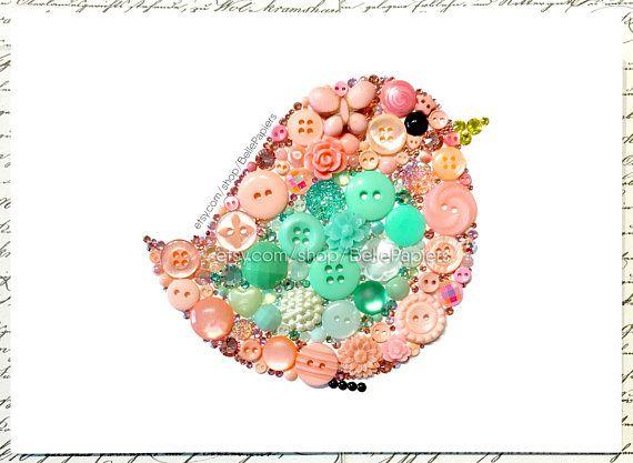 Mint & Coral Nursery Art | Made-to-order Nursery Birdie | Cute Baby Shower Birds | Button Art | Button Canvas | Button Picture | Button Bird | Swarovski Crystals Each Button Art Birdie is crafted with genuine Swarovski Crystal Rhinestones & high quality buttons, both new and vintage. I