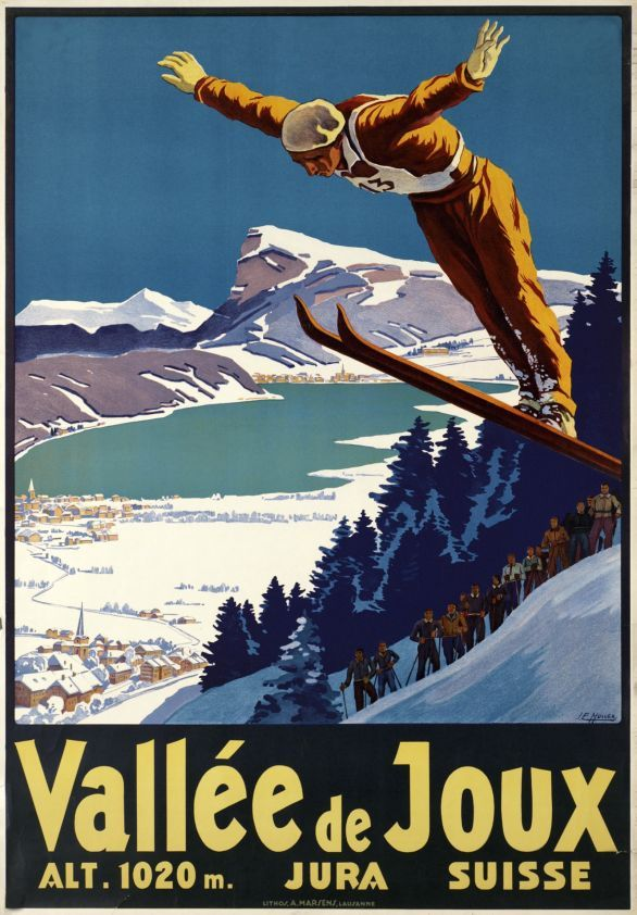 SWITZERLAND - Vallee de Joux, Jura Suisse - Johannes Emil Muller 1930  #Winter #Vintage #Travel