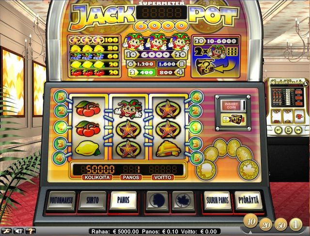 Mikäli sinulla on ikävä oikeaa kasinotunnelmaa kun pelaat kotoa käsin, Jackpot 6000 on mainio peli juuri sinulle. Voit melkein kuvitella istuvasi Las Vegasin kasinolla, missä pelaat tätä perinteistä kolmen pelikelan ja viiden panostuslinjan kolikkopeliä.