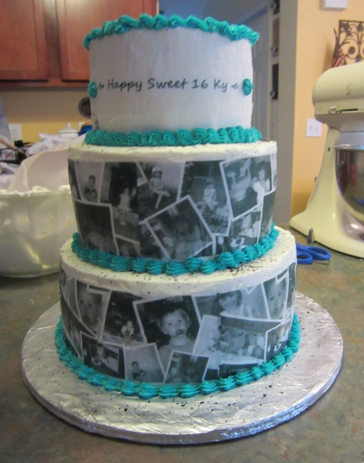 Sweet 16 Photo Collage Cake Party Ideas Pinterest