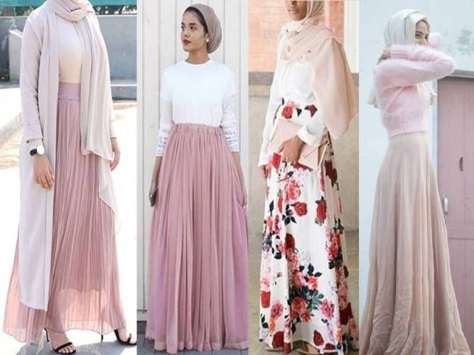 blush pink maxi skirts hijab looks