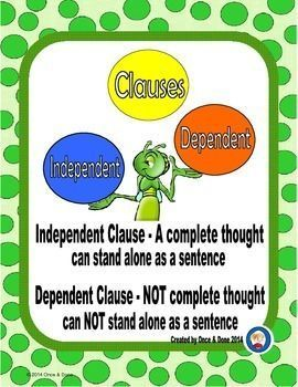 Independent and Dependent Clauses Center Activity for small groups or independent literacy station work during guided reading. Students read a sentence and identify the bolded words as a dependent clause or an independent clause.IncludesTitle page2 task p