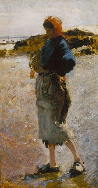"John Singer Sargent - 1877 Girl on the Beach, Sketch for ""Oyster Gatherers of Cancale"" oil on canvas"
