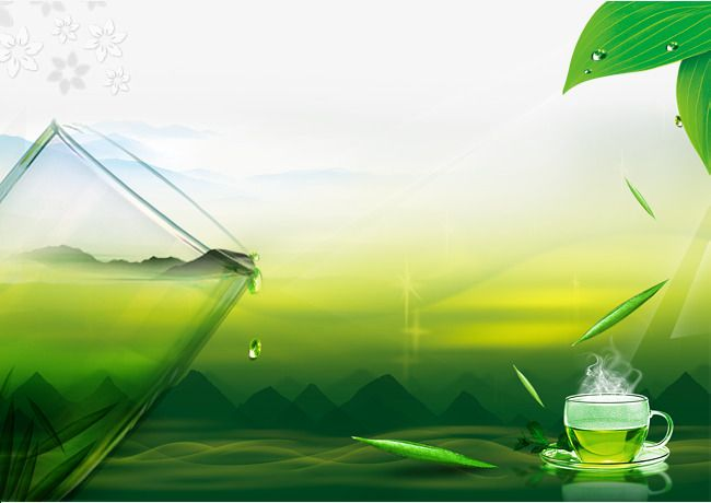 Cups Of Tea And Mountain Green Background Png And Psd Green Backgrounds Background Background Images