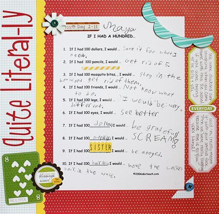 QuiteLiterallyChristaPaustenbaugh: Scrapbook Ideas, For Kids, Scrapbook Schools, Schools Ideas, Schools Scrapbook, Journals Ideas, Click Scrapbook, Schools 100Th, Scrapbook Pages