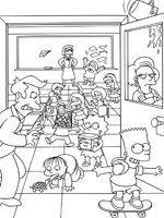 Coloriage de L'école des Simpson | Dessins | Pinterest